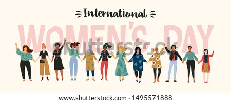 International Womens Day. Vector illustration with women different nationalities and cultures. Struggle for freedom, independence, equality. Royalty-Free Stock Photo #1495571888