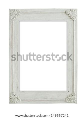 vintage white frame isolate on white background