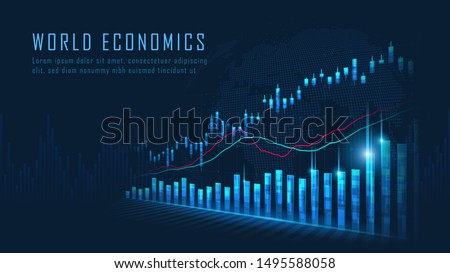Stock market or forex trading graph in graphic concept suitable for financial investment or Economic trends business idea and all art work design. Abstract finance background. Vector illustration #1495588058