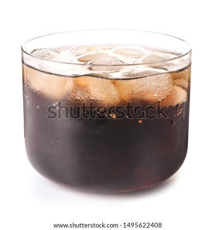 Glass of cold cola on white background #1495622408