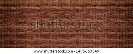 Red brick wall. Texture of old dark brown and red brick wall panoramic backgorund. #1495663349