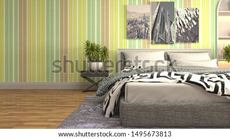 Bedroom interior. Bed. 3d illustration. #1495673813