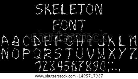 Special font complex execution in the form of human skeleton bones on Halloween. Vector image.