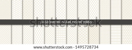 Big set of 24 vector tiled seamless patterns. Collection of geometric linear modern patterns. Patterns added to the swatch panel. #1495728734
