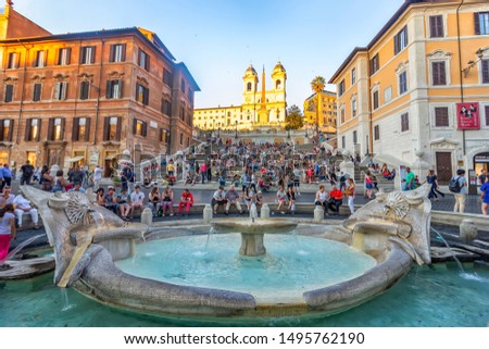 Rome, Italy - June 12, 2017: The Spanish Steps, seen from Piazza di Spagna. In the foreground, the Fontana della Barcaccia #1495762190