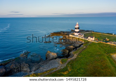 Aerial view, Hook Lighthouse is a building situated on Hook Head at the tip of the Hook Peninsula in County Wexford, in Ireland.It is one of the oldest lighthouses in the world. #1495821728