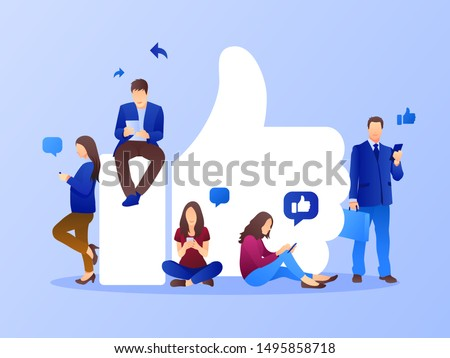 Likes or followers template background. Social media marketing concept. Flat style design with gradient. Modern vector.