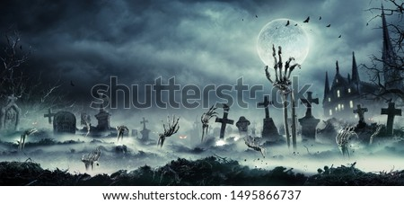 Skeleton Zombie Hands Rising Out Of A Cemetery - Halloween Background  #1495866737