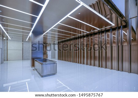 interior of modern entrance hall in modern office building #1495875767