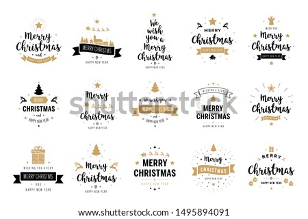 Merry Christmas. Happy New Year, typography lettering badge emblems quotes set collection. Vector logo design for postcard, invitation, greeting card,  poster, gift. #1495894091