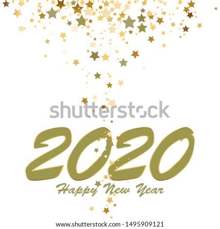Fireworks. Stars. Happy New Year 2020!
