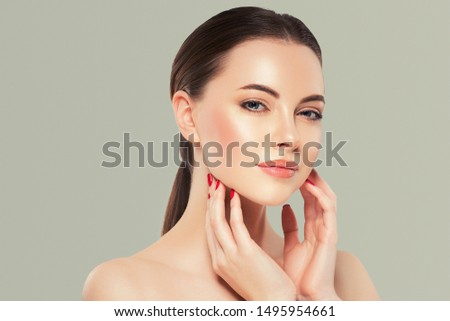 Beauty woman healthy skin concept natural makeup beautiful model girl face hands touching woth manicure nails #1495954661