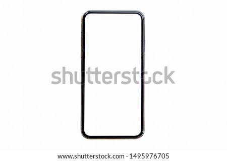Smartphone similar to iphoneX with blank white screen for Infographic Global Business Marketing investment Plan, mockup model modern mobile phone Designed New black frameless web site design app. #1495976705