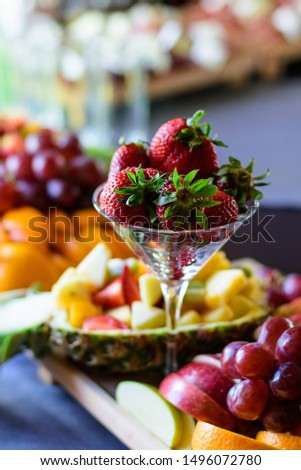 Strawberry, grapes, apple, pineapple and other fruits on banquet table, catering #1496072780