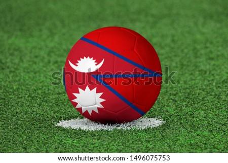 Flag of Nepal on Football Nepal Flag on soccer ball #1496075753