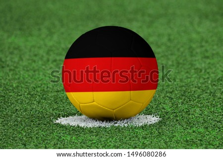 Flag of Germany on Football Germany Flag on soccer ball #1496080286