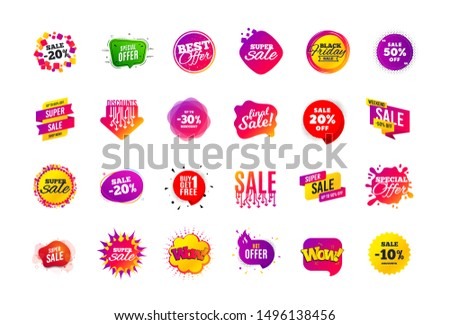 Sale banner badge. Special offer discount tags. Coupon shape templates design. Cyber monday sale discounts. Black friday shopping icons. Best ultimate offer badge. Super discount icons. Vector banners #1496138456