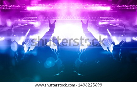 Concert hall with bright stage and people clapping #1496225699