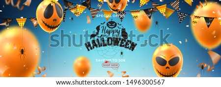 Horizontal banner for Halloween sale. Vector illustration with realistic orange air balloons with scary smiles on blue backgrund. Halloween sale background with serpentine, garlands and confetti. #1496300567