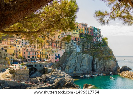 View of Manarola in the Cinque Terre, a coastal area within Liguria, in the northwest of Italy. #1496317754