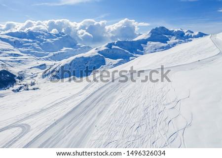 Drone view of mountain ski slopes. #1496326034