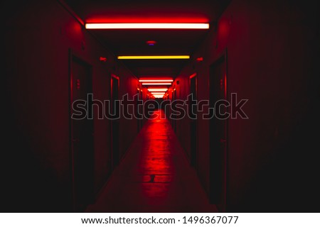 Red light corridor scary concept horror scenery fear concept  #1496367077