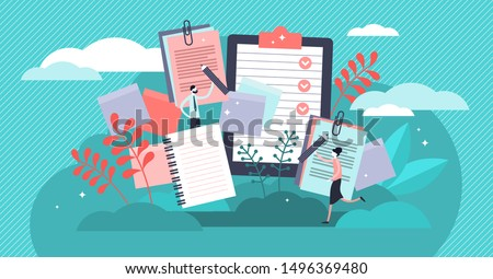 Notes vector illustration. Flat tiny paper textbook write persons concept. Stationery blank sheets for diary, memos or sketch making. Empty checklists, organizers and clean information notebook pages. #1496369480