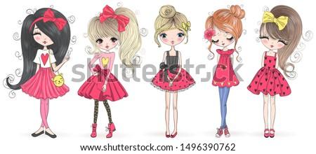 Five hand drawn beautiful cute cartoon amazing fashion girls. Vector illustration. Royalty-Free Stock Photo #1496390762