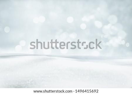 SNOW AND BOKEH LIGHTS BACKGORUND, CHRISTMAS OR WINTER PATTERN, BACKDROP FOR PRODUCTS OR PRESENTS #1496415692