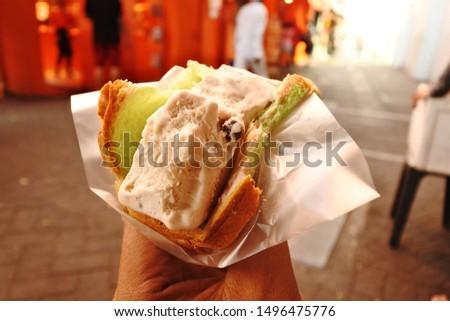 Ice Cream Sandwich is a popular street snack in singapore  #1496475776
