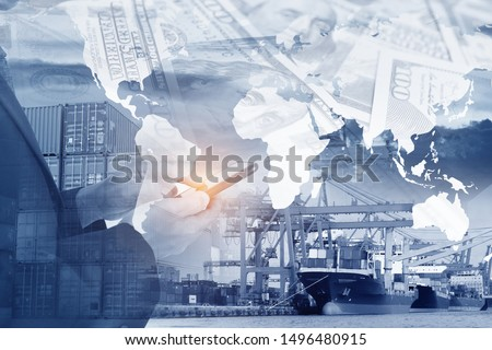 Multiple exposure of business man is using smartphone to invests and command shipping business worldwide background. #1496480915