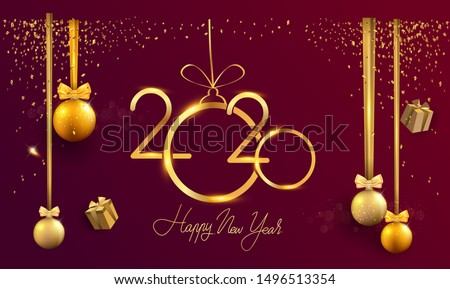 Happy New Year 2020 - New Year Shining background with gold clock and glitter, elegant design. #1496513354