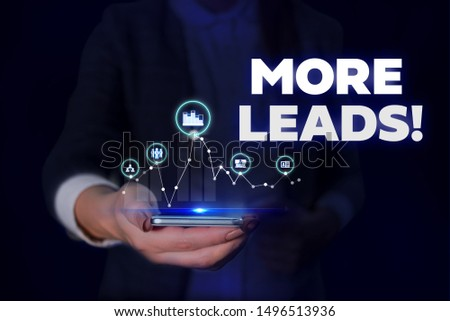 Handwriting text More Leads. Concept meaning initiation consumer interest enquiry into products or services Woman wear formal work suit presenting presentation using smart device. #1496513936