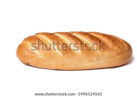 Loaf of bread isolated on white background. Whole bread.Horizontal frame.Studio.  Royalty-Free Stock Photo #1496524565
