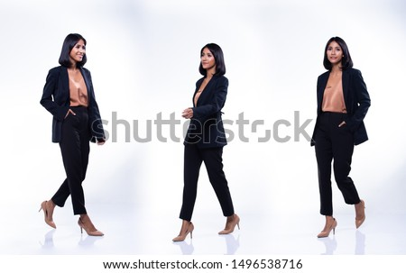 Collage group pack of Full Length Snap Figure Indian Arab Business Woman Stand in black Formal proper Suit pants and shoes, studio lighting white background isolated, Lawyer Boss act posing smile #1496538716