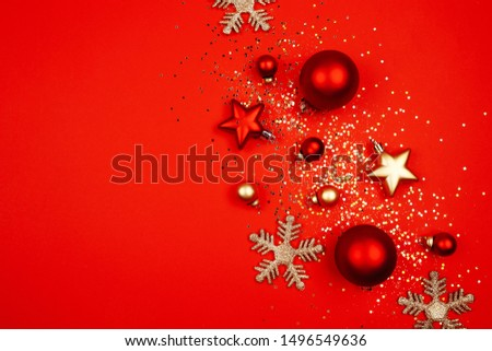 Five red christmas decoration ball on a red background with space for text Sequins, snowflakes, New Year concept. #1496549636
