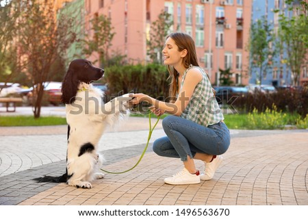 Woman training her English Springer Spaniel dog outdoors #1496563670