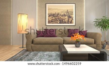 Interior of the living room. 3D illustration. #1496602259