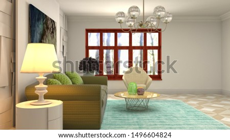 Interior of the living room. 3D illustration. #1496604824