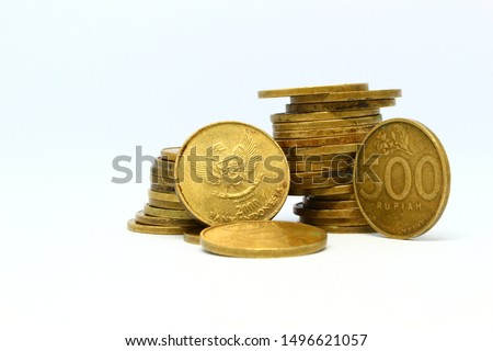 500 rupiah coins with a clean white background, Indonesia, Republic of Indonesia, Indonesia    500 indonesian rupiah coin, a coin from the republic of indonesia #1496621057
