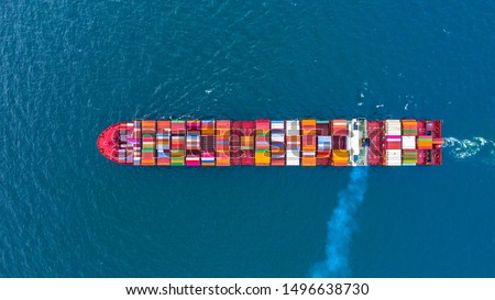 Container ship carrying container for business freight shipping import and export transportation logistic, Aerial view container ship arriving in commercial port, Container loading cargo freight ship. #1496638730