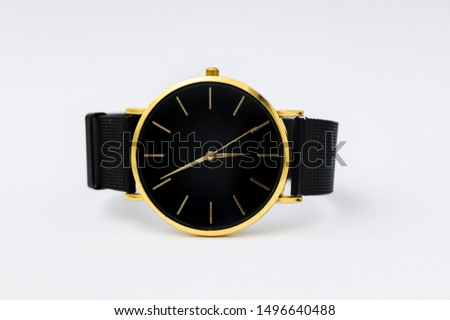 Luxury watch isolated on white background. With clipping path. Gold watch. Women watch. Female watch. #1496640488