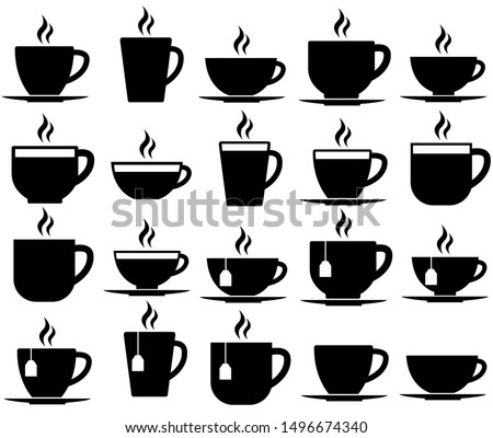 Tea and coffee cup set icon, logo isolated on white background #1496674340
