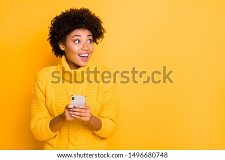 Copyspace photo of charming model stylish pretty attractive gorgeous sweet lovely beautiful girlfriend stupor with something occurring in social media wearing pullover isolated vivid color background #1496680748