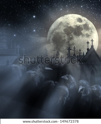Photo composition with flock of crows, old European Cemetery with lot of crosses, full moon, stars and light beams between night mist #149672378