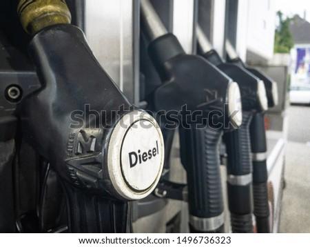 Paderborn, Deutschland - 01.09.2019: Gas pump on a gas station #1496736323