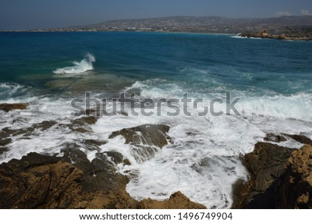 coast of the Mediterranean Sea on the island of Cyprus #1496749904