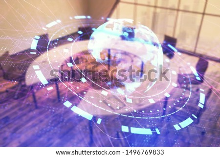 Double exposure of globe hologram on conference room background. Concept of international business #1496769833