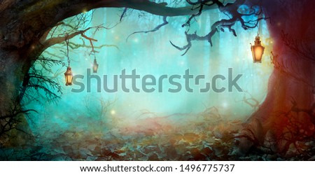 Halloween Background with Lanterns in Dark Forest in Spooky Night. Halloween Design in Magical Forest #1496775737