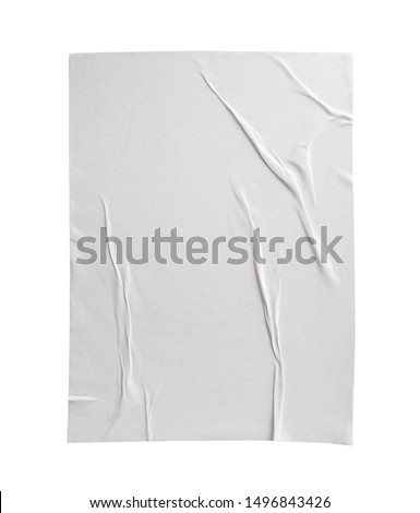 Blank white crumpled and creased paper poster texture isolated on white background #1496843426